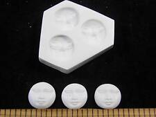 Moon Faces Polymer Clay Push Mold 3 in 1 Mold (#MD1300)