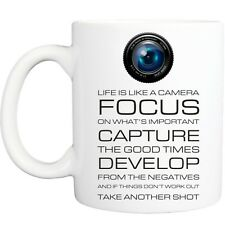 LIFE CAMERA MUG funny novelty tea coffee gift womens mens office ideas christmas
