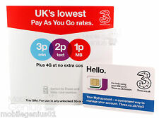 Three 4G PAYG Nano / Micro / Standard TRIO SIM Card Pay As You Go 3 Combi SIM