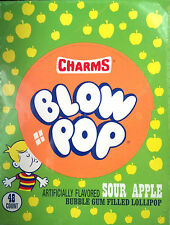 Charms Blow Pop Sour Apple Flavor   48 Count