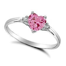 .925 Sterling Silver Ring size 4 CZ Heart cut Pink Midi Kids Ladies New x26