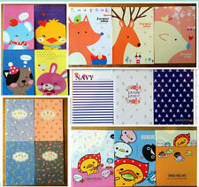2 x Cute animal  navy pattern lined Quality A5 Notebook diary memo pad