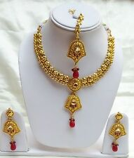 Indian Gold Plated Ruby Kundan Bridal Necklace Earrings MaangTikka Set Jewelry