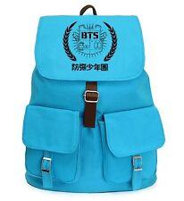 Kpop New BTS Bangtan Boys Blue Canvas Backpack Student Shoulder Book BAG