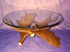 REAL ANTLER 3 ANTLER MOOSE TABLE BASE, FURNITURE, DEER CHANDELIER