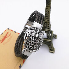 Fashion Retro Wisdom Owl Wild Punk Style Charm Leather Bracelet Bangle