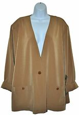 Maggie Sweet Womens Blazer Jacket Golden Brown Beige Long Sleeve 1 Button Sz 2X