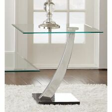 "Chrome and Glass ""End Table"" Living Room Accent Home Furniture Decor Lounge Den"