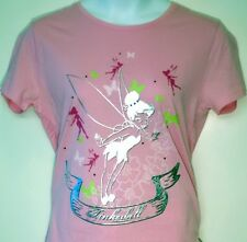 NWT Tinkerbell Pink T-Shirt Top Silver Studs with Silver Foil purple gems Medium