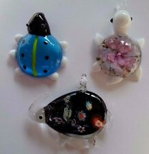 Turtle Elephant Bug Bead Art Lampwork Glass Pendant Necklace set of 3 Animals