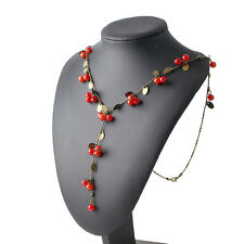 Fashion Women Long Necklace Red Cherries Pendant Statement Jewelry Sweater Chain