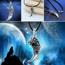 New Men's Stainless Steel Tribal Wolf Fang Tooth Spear Pendant Choker Necklace
