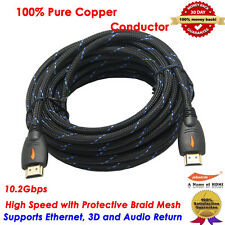 30FT HDMI Cable 9.2m Video Cord Bluray DVD XBOX PS 3 4 Wii U LCD HD TV 1080P USA
