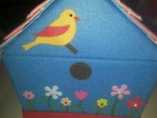 CATH KIDSTON ? FELT BIRD HOUSE  SEWING BOX W/ FLOWERS + LOTS OF BEAD DETAIL