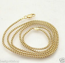 "24"" 2"" Italian Round Box Chain Necklace 14K Yellow Gold Clad Silver 925"