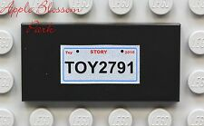 NEW Lego Car/Truck LICENSE PLATE 2x4 Printed Minifg FLAT BLACK TILE - Toy Story