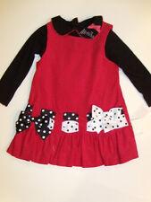 NWT Girls Bonnie Jean Red Black Dot Ribbon Dress Sz 24M 2pc Jumper Shirt NEW