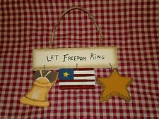 Americana Sign LET FREEDOM RING Patriotic star dangle Home Decor