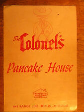VINTAGE OLD RESTAURANT MENU COLONELS PANCAKE HOUSE JOPLIN MO MISSOURI