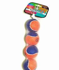 Set of 4 - Fetch Hard Tennis Balls - Orange & Blue Color - For Large Dogs