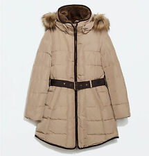 Zara Women Jacket Long Down Anorak With Piping Parka Puffer XL