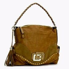NWT Guess by Marciano Camel Gold Large Leather & Suede Hobo Satchel Tote Purse