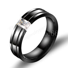 6MM Size 6-11 Titanium Steel Ring Black Crystal Husband Wedding Engagement Men