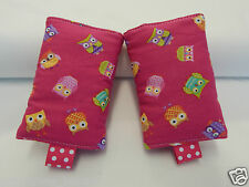 Baby Carrier Suck Dribble Teething Pads Suits Most Carriers- Whimsy Owls On Pink