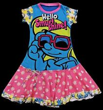 Custom Boutique Resell SMURF SHINE Upcycle Dress ~ Size Range 8 9 10 Yr NWOT tt