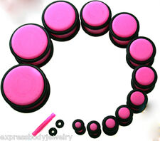 PAIR 6g Neon Pink Gauges Acrylic Ear Plugs With O Ring Grooves