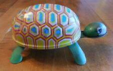 VINTAGE WIND UP MULTI-COLORED LITHOGRAPH TIN TOY TURTLE MADE IN JAPAN