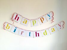 Rainbow Letter Happy Birthday Party Banner/Bunting Flag Dessert Table Decoration