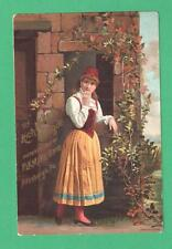 ANTIQUE TRADE CARD MIKADO COLOGNE PITTSBURGH, PA GIRL OLD WORLD COSTUME WALL IVY