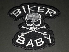 MOTORCYCLE BIKER SEW/IRON ON PATCH:- BIKER BABY SKULL & CROSSBONES (c) WHITE
