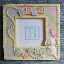 "BABY ""July"" Birth Month PHOTO FRAME picture resin pastel keepsake 5""x5"" neutral"