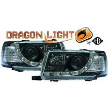 Coppia fari fanali anteriori TUNING AUDI 80, 91-94 nero con Dayline a LED