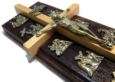 035#  WOODEN WOOD CROSS CRUCIFIX- 14 STATIONS OF THE CROSS WALL HANGING