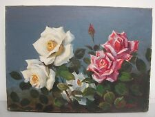 "Vintage Continental Still Life Oil Painting with Roses Signed 9.5"" x 13"""