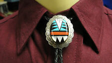 Vintage Zuni Sterling Silver Concho Multi-Stone Inlay Turquoise-Onix BoloTie