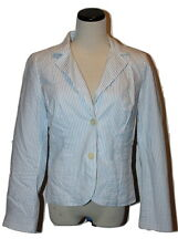 TOMMY HILFIGER White & Lt Blue Preppy Striped Cotton 2 Button Blazer Jacket M
