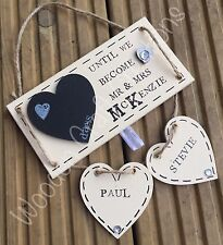 Personalised Wooden Plaque Sign Countdown Wedding / Mr & Mrs Gift