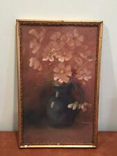 Vintage Water Color Painting Pitcher of Flowers in Ornate Brass Frame