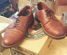 H.S. Trask Gallatin Brown Bison Leather Oxfords Size 10 1/2 M #1001 w/ Box