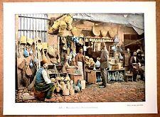 TURQUIE Marchands de vannerie et de poterie - Photochromie fin 19ème Gravure