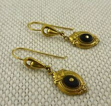 Victorian Gold Vermeil Earrings With French Jet