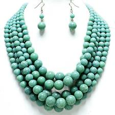 Super Chunky Multi Layered Turquoise Pearl Earrings Necklace Jewelry Set