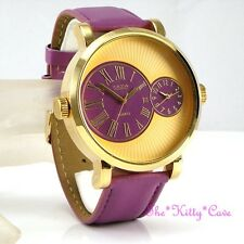 Designer Gold & Purple Leather Dual Time 2 Twin Zone Double Dial Sunray Watch