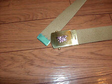 MILITARY STYLE KHAKI WEB BELT WITH NAVY SEALS SILVER INSIGNIA BRASS BUCKLE
