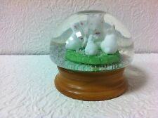 "ADORABLE EASTER BUNNY 4"" TALL SNOW GLOBE WITH WOOD BASE."