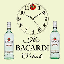 "Beautiful Bacardi Clock "" It's Bacardi O'clock "" Present Chic Gift Shabby Unique"